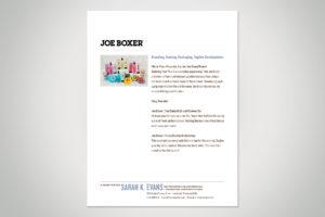 Joe Boxer Sample Content